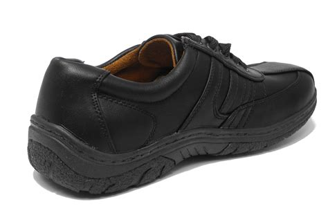 shoes for with arch support mens black leather look wide cushion comfort arch support
