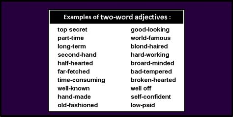 sentence pattern with adjectives two word adjectives grammar patterns