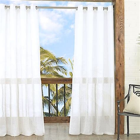 Outdoor Sheer Curtains Parasol Summerland Key 84 Inch Sheer Indoor Outdoor Window Curtain Panel Bed Bath Beyond