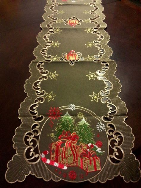 16 quot x54 quot embroidered christmas tablecloth candy cane tree