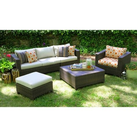 Biscayne 5 Piece Wicker Sectional Seating Patio Furniture