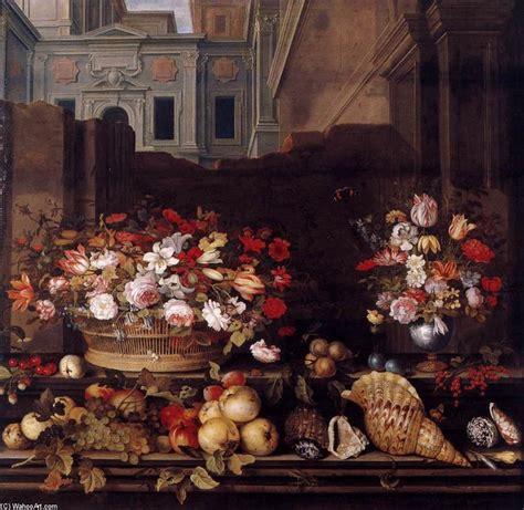 le ast ancora la vita con fiori frutta e le coperture olio su