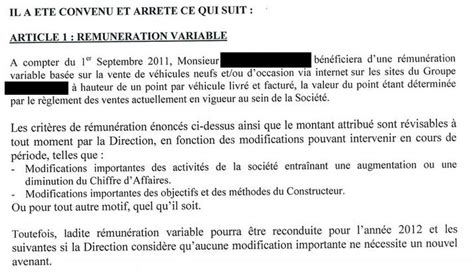 modification de l avenant au contrat de travail contrat