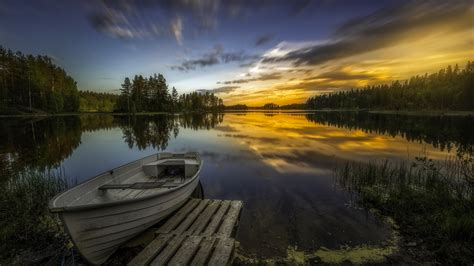 wallpaper lake boat ringerike norway  nature