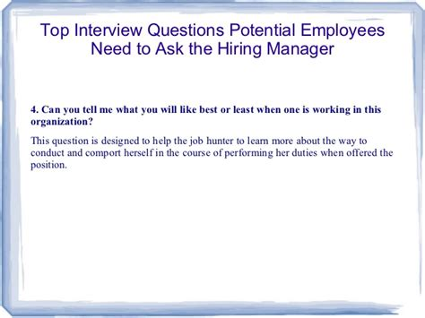 Hiring A Manager Questions Top Questions Potential Employees Need To Ask