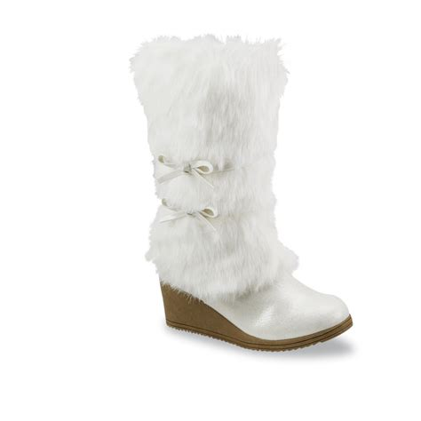 faux fur wedge boot sears