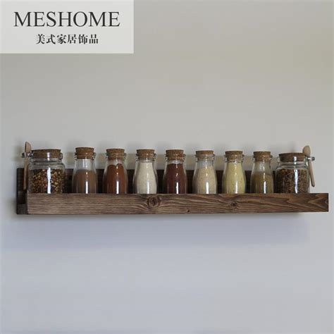 Spice Rack Wall Shelf Wood Wall Shelf Kitchen Wall Seasoning Spice Rack Jars