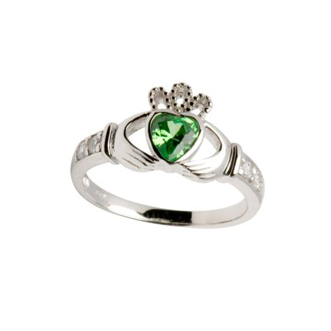 sterling silver birthstone claddagh ring may fallers