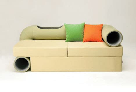 couch tubes cat tunnel couch has hidden tube for feline companions