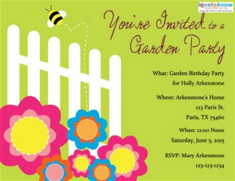 birthday garden invitation wording garden invitations lovetoknow