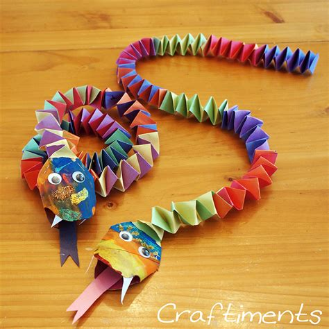 arts and crafts made out of paper craftiments new year snake craft paper crafts