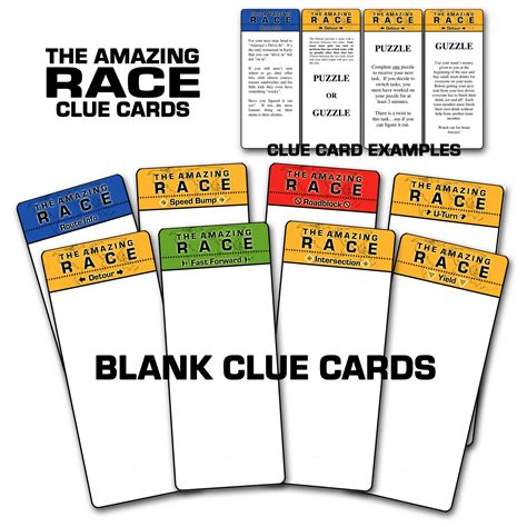 clue card templates paper perfection free quot amazing race quot birthday