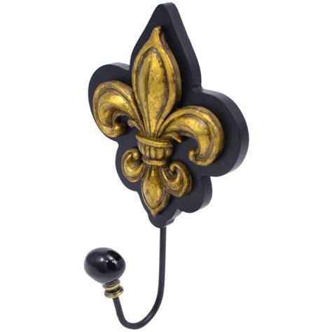 gold fleur de lis and black inscription on shoulder black gold fleur de lis wall hook mardigrasoutlet