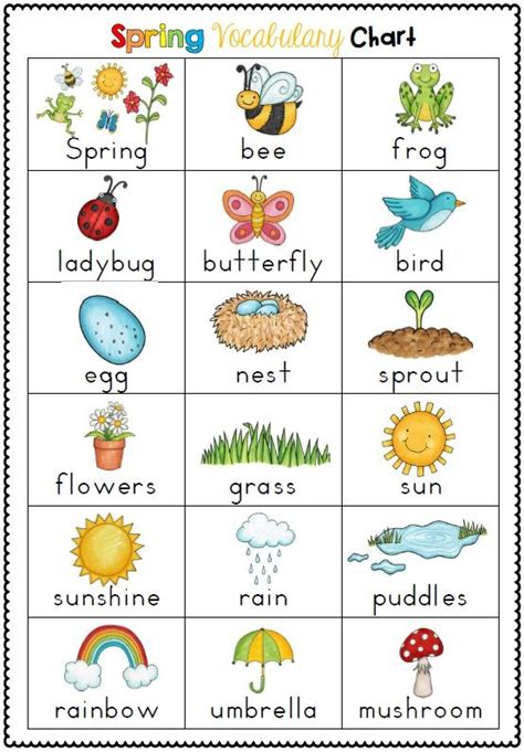 english themes for preschool spring themed vocabulary cards with record sheets