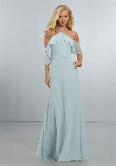 Wedding Gowns And Bridesmaid Dresses by Chiffon Bridesmaids Dress With Flounced Neckline Style