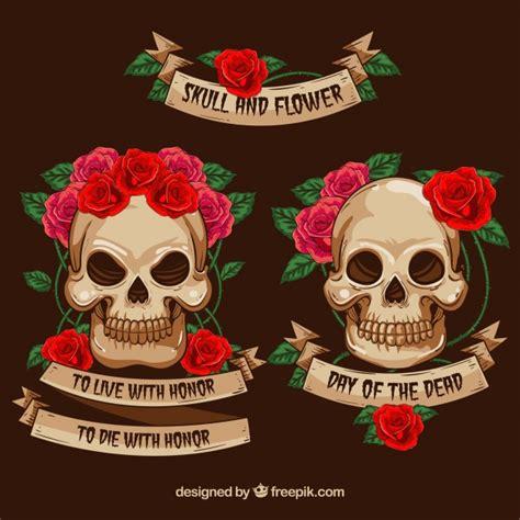 fiori con nastri teschi decorative con fiori e nastri scaricare vettori