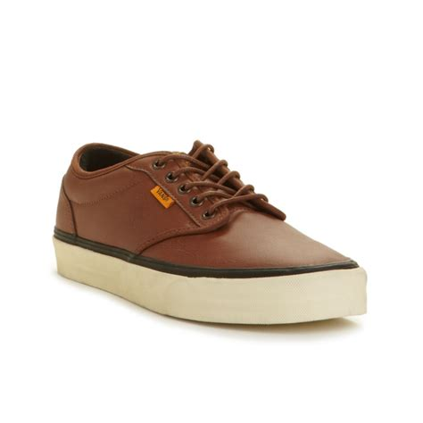 mens brown leather sneakers vans atwood leather sneakers in brown for lyst