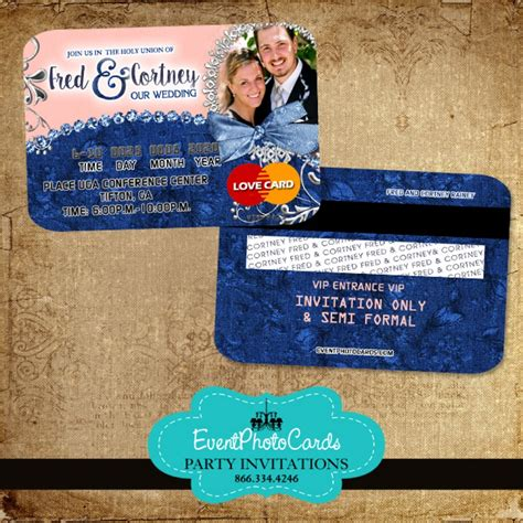 Credit Card Wedding Invitation Template denim and diamonds invitations style by