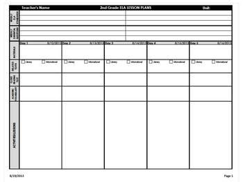 fundations lesson plan template ela lesson plan template plan template