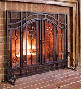 plow hearth floral large fireplace screen with doors
