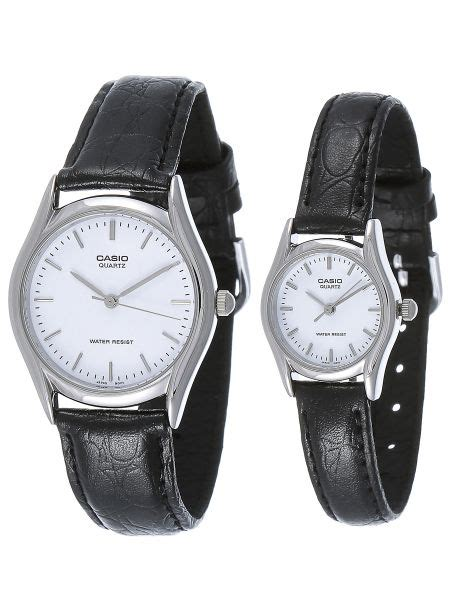 Casio Ltp 1094e 7a casio his hers white leather band