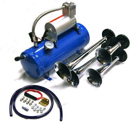 air horn 4 trumpet 12 volt compressor hose 150 db 120 psi kit truck ebay