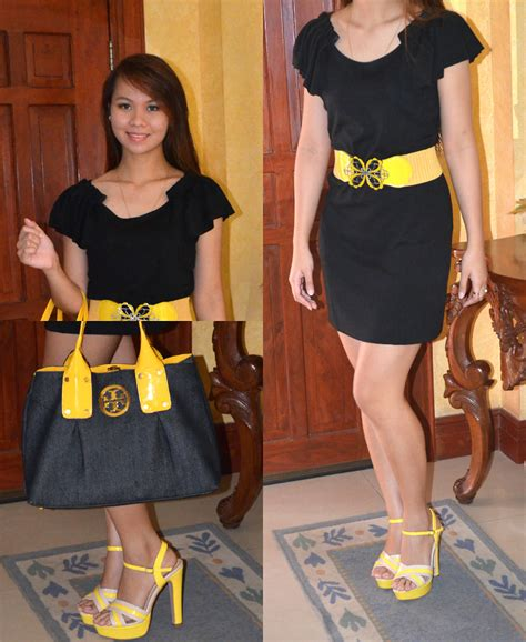 janinne dy yellow belt black dress yellow heels