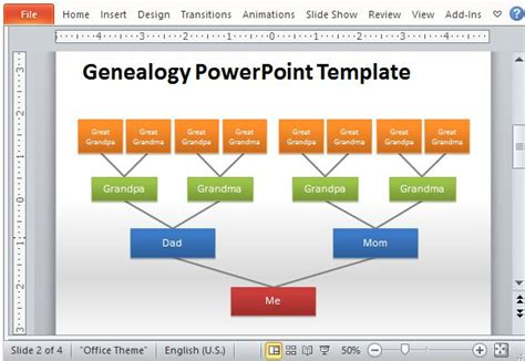 Genealogy Tree Powerpoint Template Microsoft Powerpoint Templates Family Tree