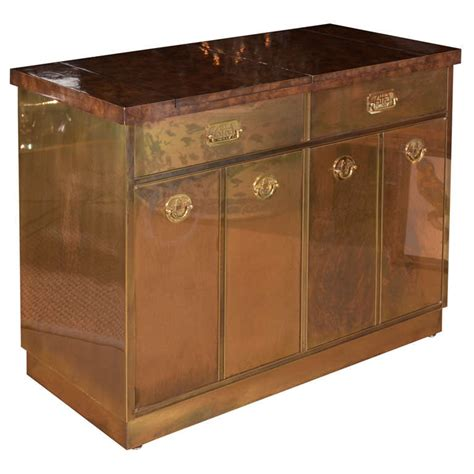 Flip Top Bar Cabinet Mastercraft Brass Burl Wood Flip Top Bar Cabinet At 1stdibs