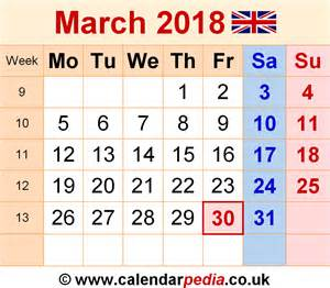 Calendar 2018 March Calendar March 2018 Uk Bank Holidays Excel Pdf Word