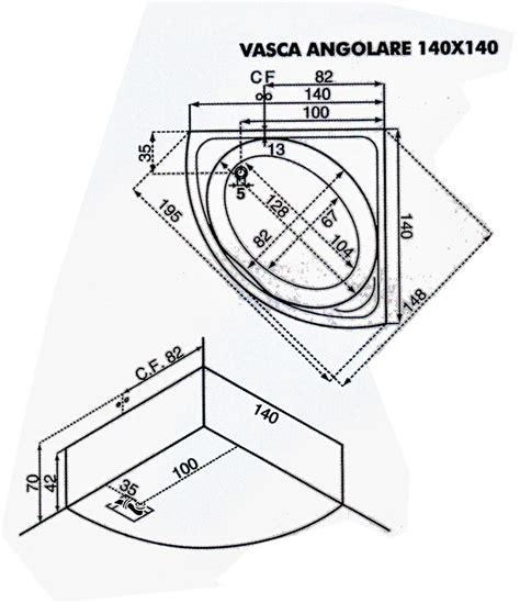 misure vasca da bagno angolare vasca da bagno angolare con idromassaggio 140x140 cm san