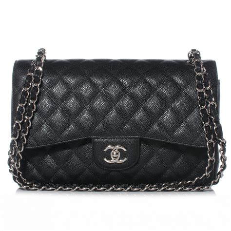 Chanel Classic Bags by Chanel Black Quilted Caviar Classic Jumbo 2 55 Flap