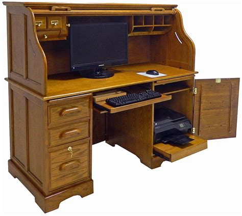 59 Quot W Oak Roll Top Computer Desk In Stock