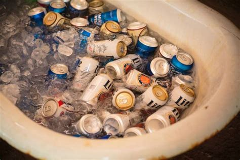 bathtub beer claw foot bathtub full of beer arrington wedding