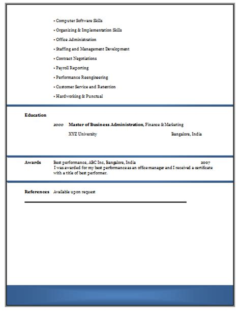 Resume Format Doc For Experienced 10000 Cv And Resume Sles With Free Experienced Resume Format Doc