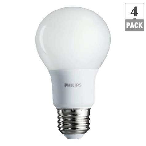 Led Light Bulbs 60w Equivalent Philips 60w Equivalent Soft White A19 Led Light Bulb 4 Pack 455949 2 The Home Depot