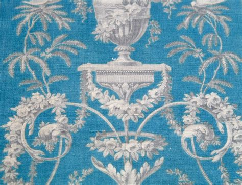 french drapery fabric chateau curtain panel antique french fabric in blue grey