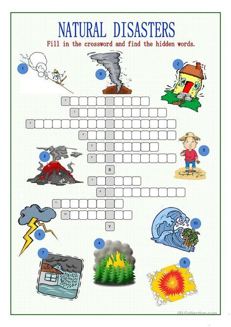 natural disasters crossword puzzle worksheet free esl