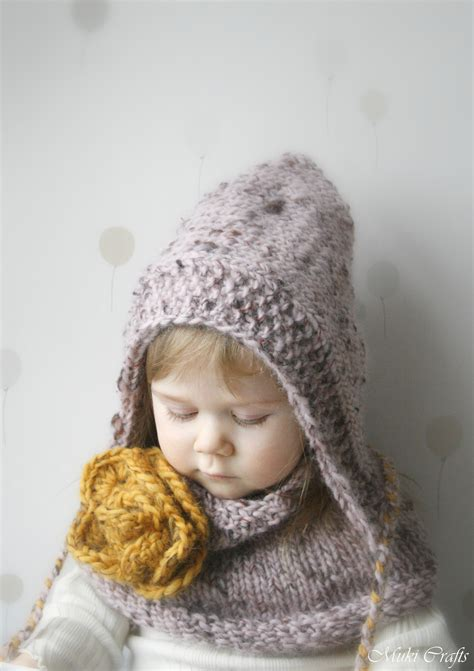 hooded cowl pattern knit knitting pattern hooded cowl set salome with