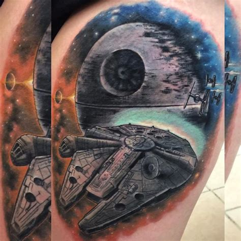 millennium falcon tattoo millenium falcon by chad pelland tattoonow