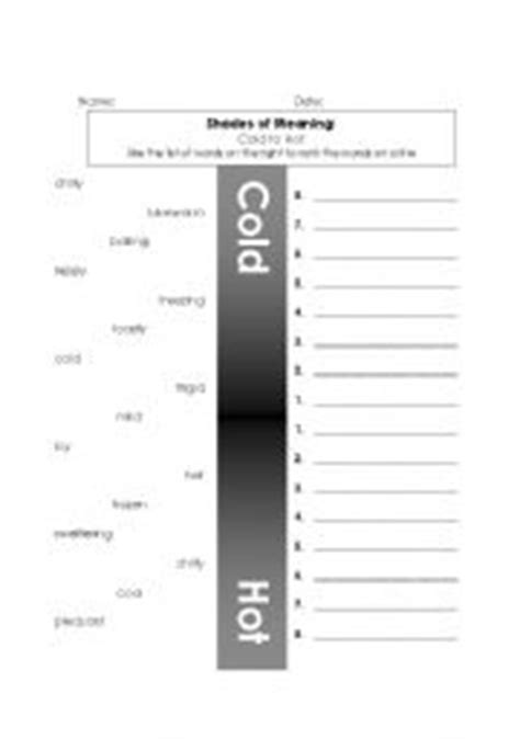 Shades Of Meaning Worksheets by Worksheets Shades Of Meaning