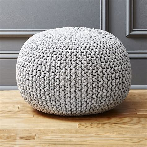 Round Kitchen Design by Knitted Silver Pouf Cb2