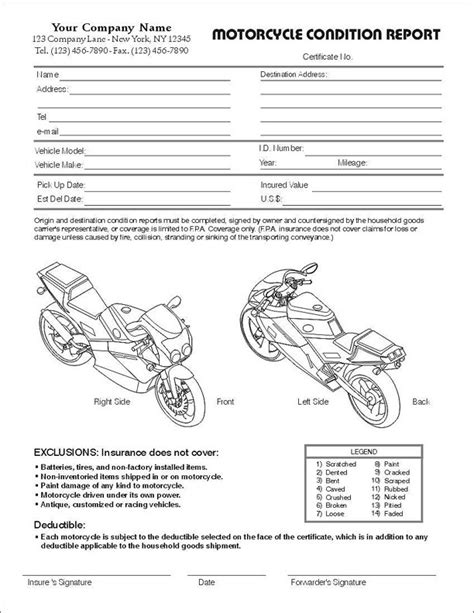 condition cards template vehicle condition report form pdf vehicle ideas