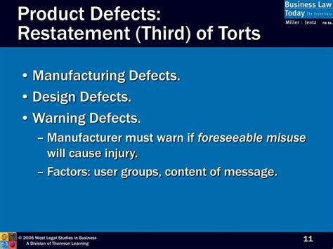 design vs manufacturing defect ppt chapter 13 warranties product liability and
