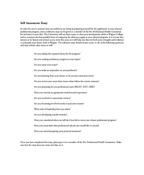 Assessment Essay by Sle Self Assessment Free Employee Self Assessment Form Self Assessment Form Employee Self