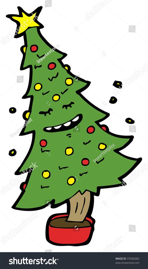 dancing christmas tree picture tree stock illustration 97040282