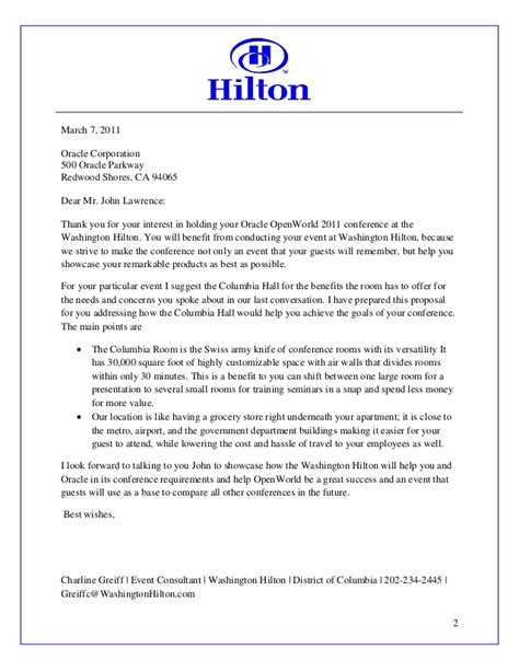 hilton sales proposal work exle
