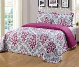 Bed Quilts Size by 3pc King Size Floral Printed Quilts Bedspread