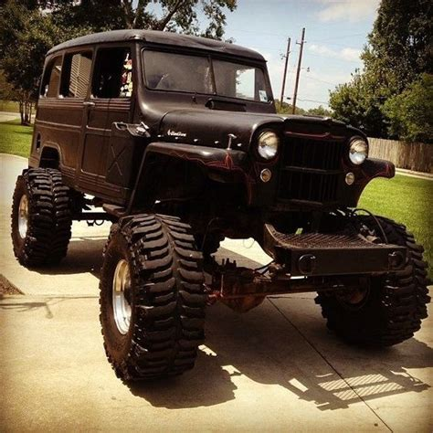 willys jeep offroad lifted willys wagon black red pin striping off road
