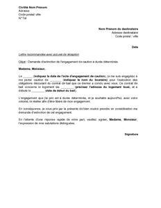 lettre de demande d extinction d un engagement de caution